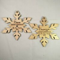"Custom Personalised Wooden Christmas ""Snow Flake""  Tree Decorations"