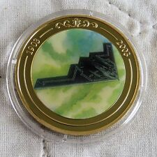 B2 BAT BOMBER 2003 GOLD PLATED PROOF 39mm MEDAL - coloured centre