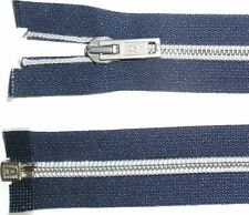 "Albert Zip Navy 18.5""/47CM Argento Nylon Denti A Spirale BOBINA Zipper Open End Numb 7"