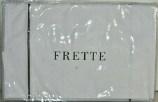 NEW Frette ONE 1 Bourdon 2 PC SET Cases White Grey Embroidered Pair STANDARD