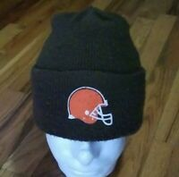 NFL Cleveland Browns Logo Helmet Beanie Cuffed Knit Brown Hat Cap Toboggan USED