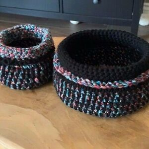 Hand-made Crochet Bowls Set of Two Black and Multi-color Catch All Trinket Bowls