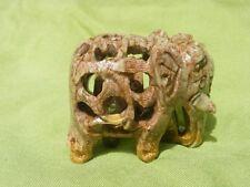 "Handmade Soapstone Polish Elephant, jali, Engraved Carved, With baby Inside 2""."
