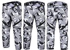 Grey Camo Camouflage CE ARMOURED Motorcycle Motorbike Waterproof Trousers Pants