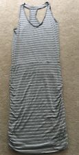 ATHLETA Gray Heather Striped Racerback Tee DRESS Ruched Skirt.  CUTE!  SMALL
