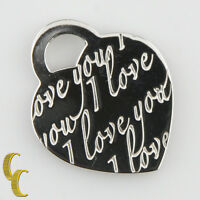 """Tiffany & Co. Sterling Silver """"I love you"""" Heart Pendant Retired Piece Great!"""