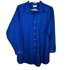 Van Huesen Blue men's Tall size 19 (35/36) Button Up Long Sleeve Dress Shirt