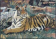 """48"""" x 32"""" Handmade Tiger sitting in nature mosaic Mural Home Design Marble Art"""