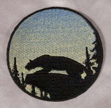 Embroidered Mountain Lion Cougar Sunrise Silhouette Ombre Circle Patch Iron On