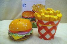 CHEEZE BURGER & FRIES - SALT & PEPPER SHAKERS - BY CLAY ART - NEW IN BOX