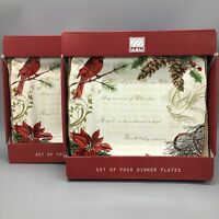 x8 222 Fifth HOLIDAY WISHES Dinner Plate Set Poinsettia Cardinal Christmas NEW