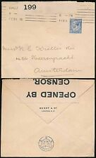 GB WW1 CENSORED to NETHERLANDS 2 1/2d FRANKING 1915 WENDT + CO PERFIN + ENVELOPE