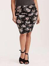 Torrid Floral Print Shirred Jersey Knit Mini Skirt Black 2X 18 20 2 #39455