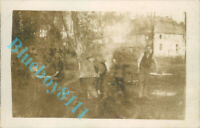 WW1 German Soldiers Cooking in big Cauldrons  Real Photo unposted
