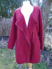 Long Cardigan Jacket with zip - Per Una M&S - Red -18 XL- Acrylic/Wool Blend