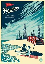 SHEPARD FAIREY A4 GLOSSY PRINT PHOTO USA ENJOY PARADISE UNTIL THE TIDE TURNS  #9
