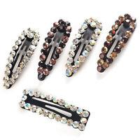 Women Glitter Rhinestone Hair Clip Snap Barrette Hairpin Bobby Hair Accessories