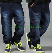 Mens Hip Hop Cargo Straight Leg New Baggy Denim Jeans Casual Stree Pant Trousers