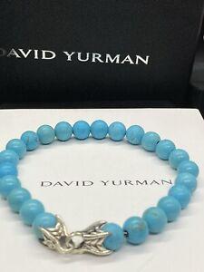 """DAVID YURMAN Men's  8mm Turquoise Spiritual Beads Bracelet 8.5"""""""