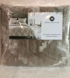 HOTEL COLLECTION Distressed Chevron FULL/QUEEN DUVET COVER. Gold-beige $335