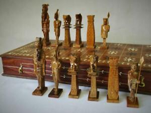 """VINTAGE  LARGE CHESS SET EGYPTIAN THEMED  K 5.5"""" AND FOLDING BOARD"""
