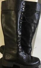 Timberland Biker Motorcycle women Tall boots Shoe Sz 6.5 M Black Leather Lace Up