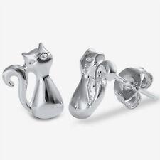 Silver Kitty Cat Stud Earrings Sterling Silver 925 Best Deal Plain Jewelry 10mm