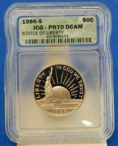 1986-S ICG PR70 DCAM STATUE OF LIBERTY HALF DOLLAR! EXCELLENT!  (254)