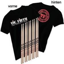 VIC FIRTH 5 Paar 5A Sticks plus  ein T-Shirt large, schwarz GRATIS DAZU !!!