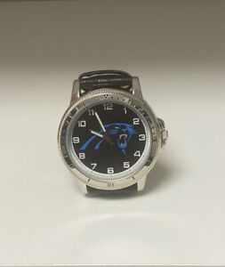 Carolina Panthers Watch, New, Mens, Black Leather, Stainless Steel, Sparo