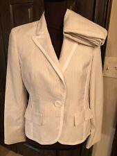 Le Suit Cream Tan Gold Pinstripe Pant Blazer Jacket Suit 6P