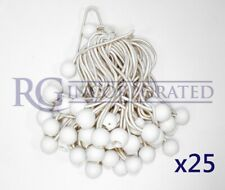 "9""  25 pcs white ball bungee bungie cord heavy duty canopy tarp tie downs straps"