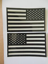 """Subdued American Flag sticker decal 3.25"""" mirrored reverse set USA GLOSS VINYL"""