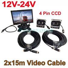 """4Pin 12V-24V Bus Truck Rear View Kit 7"""" LCD Monitor + 2x CCD Waterproof Camera"""