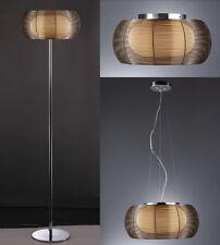 Pendelleuchte Deckenleuchte Stehleuchte Braun Chrom Glas Hängelampe Lampe Neu