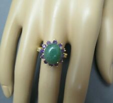 14k Jade Amethyst Ring Yellow Gold Ring Size 8 Band 3.97 Grams 12mm Oval Stone