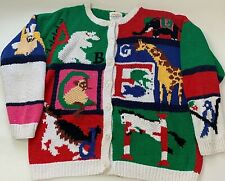 Vintage 1992 Susan Bristol  Womens Cardigan Sweater ABC Animal Alphabet Size L