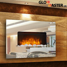 Wall Mounted Fire Fireplace Mirrored Glass Compact Electric Living Flicker Flame