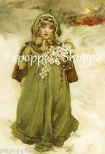 Vintage Victorian Postcard Printed onto Fabric Block Victorian Girl