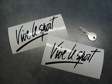 2x stickers Vive le sport 13cm Noir brillant decal auto Renault Megane B15-070