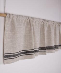 Linen curtain Kitchen European Country Stripe Café Tier Valance 100% Linen