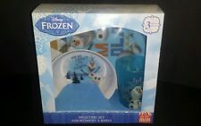 Disney Frozen Olaf & Sven 3 pc Mealtime Dinnerware Set Plate Bowl Cup New