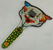 Vintage Double 2 Sided Devil Clown Halloween Noisemaker Us Metal Toy Mfg Co NiCe