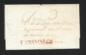 PERU STAMPLESS COVER CAJAMARCA RED 1821 SCARCE