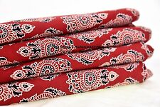 Indian Handmade 5 Yard Cotton Ajrakh Hand Block Red Print Fabric Natural Dyes