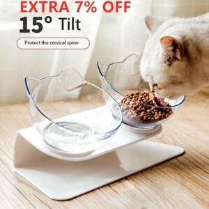 Pet Dog Cat Food Double Bowl Stand Water Feeding Bowl Raised Elevated Angle