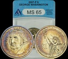 2007-P George Washington Dollar ANACS MS65 Blue/Bronze/Golden Toned Coin