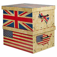 2 Large Underbed Cardboard Storage Boxes Lightweight With Lids US + UK Flags
