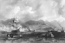 China OPIUM WARS BRITISH NAVY CAPTURE CHUSAN ZHOUSHAN ~ 1842 Art Print Engraving