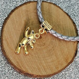 Gold Plated Bear Dangle Charm Fit For European Charm Bracelets